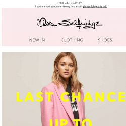 [Miss Selfridge] UP TO 30% OFF. ENDS TONIGHT!!