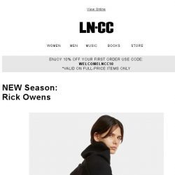 [LN-CC] AW17 New Arrivals: Rick Owens luxe leathers and sculptured ready-to-wear