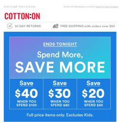 [Cotton On] Last Chance, Save up to $40 Off Your Purchase!