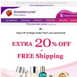 [StrawberryNet] , your VIP treat is expiring! Extra 20% Off + Free Shipping ends tomorrow.