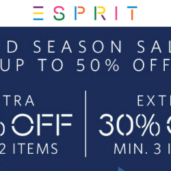 Esprit: Mid Season Sale with Up to 50% OFF In Stores & Online!