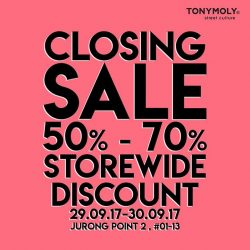 [Tony Moly Singapore] Dear supporters,Please take note that our outlet at Jurong Point 2 will only be operating till this September end.