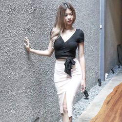 [MDSCollections] Cordella Wrapped Top In Black | Online best seller, On sale item