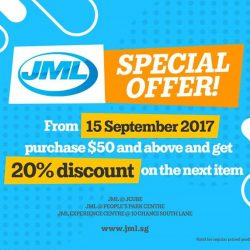 [JML] SPECIAL OFFER FROM JML Only $50 and above purchase, Get 20% DISCOUNT on NEXT ITEM!