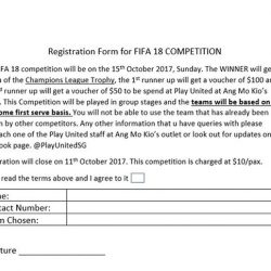 [Play United] Hey guys, Play United is organizing a FIFA 18 competition it will be held on the 15th October 2017, Sunday.