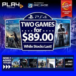[GAME XTREME] 2 for $89 PS4 Games Promo【PROMO DURATION】 While Stocks Last【DETAILS】 New games have been added to our 2