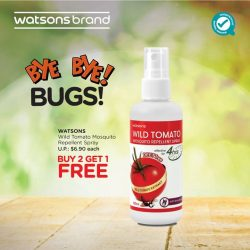 [Watsons Singapore] Stay carefree and itch-free under the sun with Watsons Wild Tomato Mosquito Repellent Spray!