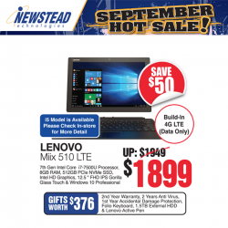 [Newstead Technologies] Get the only detachable Lenovo Miix 510 2-in-1 laptop with LTE connectivity allowing you to serve data Now