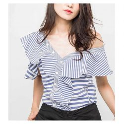 [OSMOSE Singapore] Drop Ruffles Striped Blouse | The half up, half down - Ideal for commitment-phobes who never quite embraced the full off-