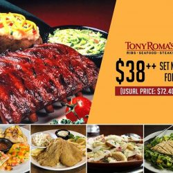 [Tony Roma's] Enjoy a Half Slab of world-famous Baby Back Ribs and a choice of Southwestern Chicken, Fish & Fries, Chicken Alfredo