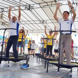 [POSB Autolobby] Minister Chan Chun Sing joined us for a bouncing good time at our first mass outdoor Trampoline @ the Marina Promontory!