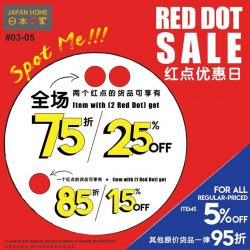 [JAPAN HOME Singapore] Japan Home Red Dot Sale is on.