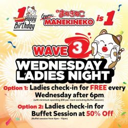 [Manekineko Karaoke Singapore] Ganso MANEKINEKO Anniversary is coming to an end soon~ Tomorrow will be the last day for Ladies Night promotion!