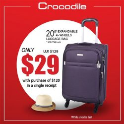 "[Crocodile] Purchase with Purchase Special Deal Get this 20"" cabin size luggage for only $29 with purchase of $120 in a"
