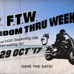 [Harley-Davidson] The annual dealership ride Freedom Thru Weekend, the one you've been waiting for, will happen in October .