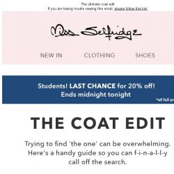[Miss Selfridge] Last chance 20% off Students!