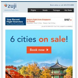 [Zuji] FALL in love with Autumn: 6 Cities on SALE!