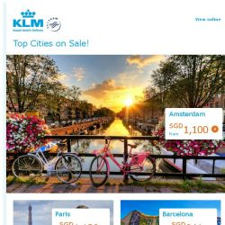 [KLM] 5 Top destinations on sale from SGD 927