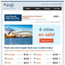 [Zuji] Ending tonight: 6 Cities flash sale!