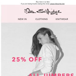 [Miss Selfridge] 25% off all Jumpers 1 day only