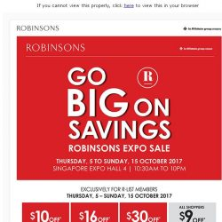 [Robinsons]  Robinsons Expo Sale – Exclusively for R-list members