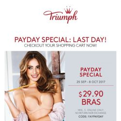[Triumph] Payday Special extended: $29.90 bras