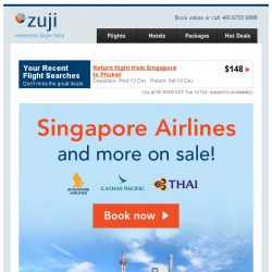 [Zuji] Gone in a FLASH: Singapore Airlines & more on sale!