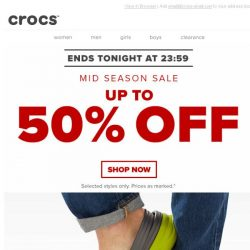 [Crocs Singapore] ⏰ Ends Tonight! Enjoy up to 50% OFF!