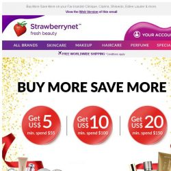 [StrawberryNet] , Get US$20, US$10 or US$5 off your order now!