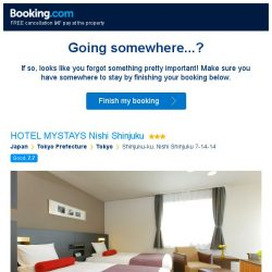 [Booking.com] HOTEL MYSTAYS Nishi Shinjuku – are you still interested in staying?