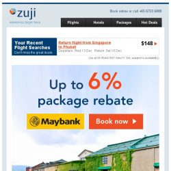 [Zuji] Hong Kong & Bangkok packages on sale + 6% rebate!