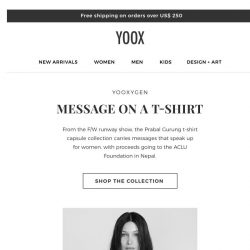 [Yoox] YOOXYGEN: the t-shirt series by Prabal Gurung and new collections