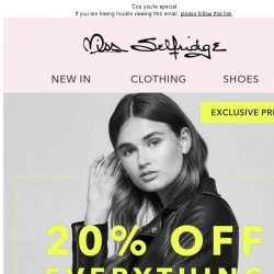 [Miss Selfridge] 20% Off - Your Exclusive Preview!