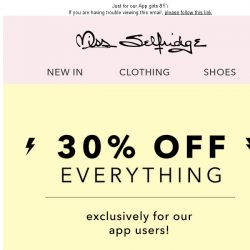 [Miss Selfridge] 30% off everything 'til Sunday!