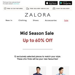 [Zalora] Up to 60% off these styles: The clock is ticking...