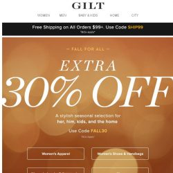 [Gilt] Final Hours: Extra 30% Off Fall Must-Haves