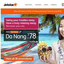 [Jetstar] ✈ Swing your troubles away with our hot fares!