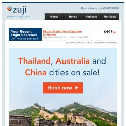 [Zuji] Thailand, Australia and China cities on sale fr $89!