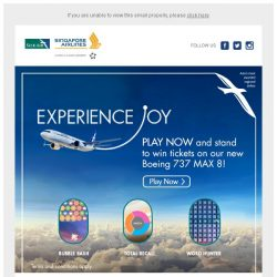 [Singapore Airlines] Play now and win tickets on our Boeing 737 MAX 8.