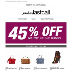 [Last Call] Limited time: 45% off one item . . . extra 30% off the rest!