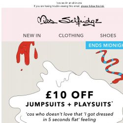 [Miss Selfridge] £10 off playsuits + jumpsuits