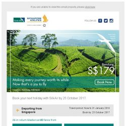 [Singapore Airlines] Last few days to enjoy special fares with SilkAir and Mastercard from SGD 179
