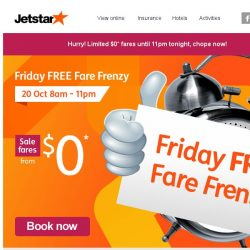 [Jetstar] Book $0 flights to Bangkok, Siem Reap and more. Today only!