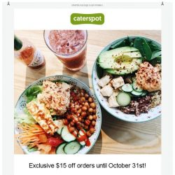 [CaterSpot] New healthy menus plus $15 off your order!