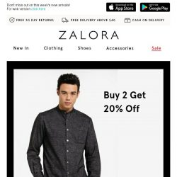 [Zalora] Good things come in pairs: Buy 2 get 20% off!