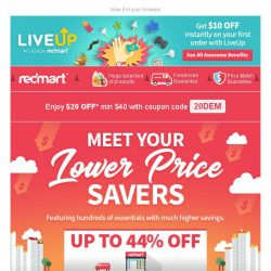 [Redmart] $20 OFF min $40! - Limited to 100 customers!