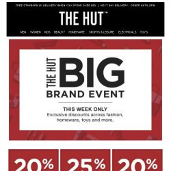 [The Hut] Ending Soon | The Hut's Big Brand Event