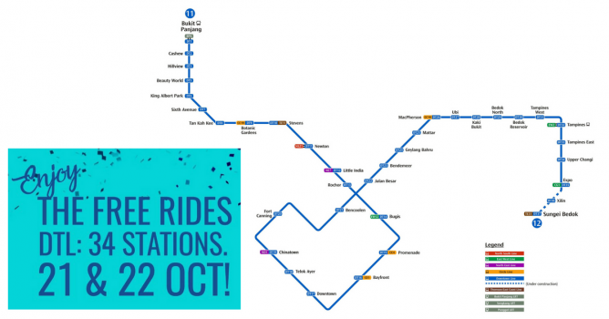 To celebrate this milestone, everyone gets FREE rides on the entire  Downtown Line on 21 and 22 October 2017! Your journey must start and ...