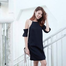 [MDSCollections] Online best sellers, on sale item | Ruffled Cami Dress in Midnight