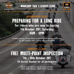 [Harley-Davidson] Specially catered to those relatively new to touring, our workshop talk features pointers on how to tour safely on your